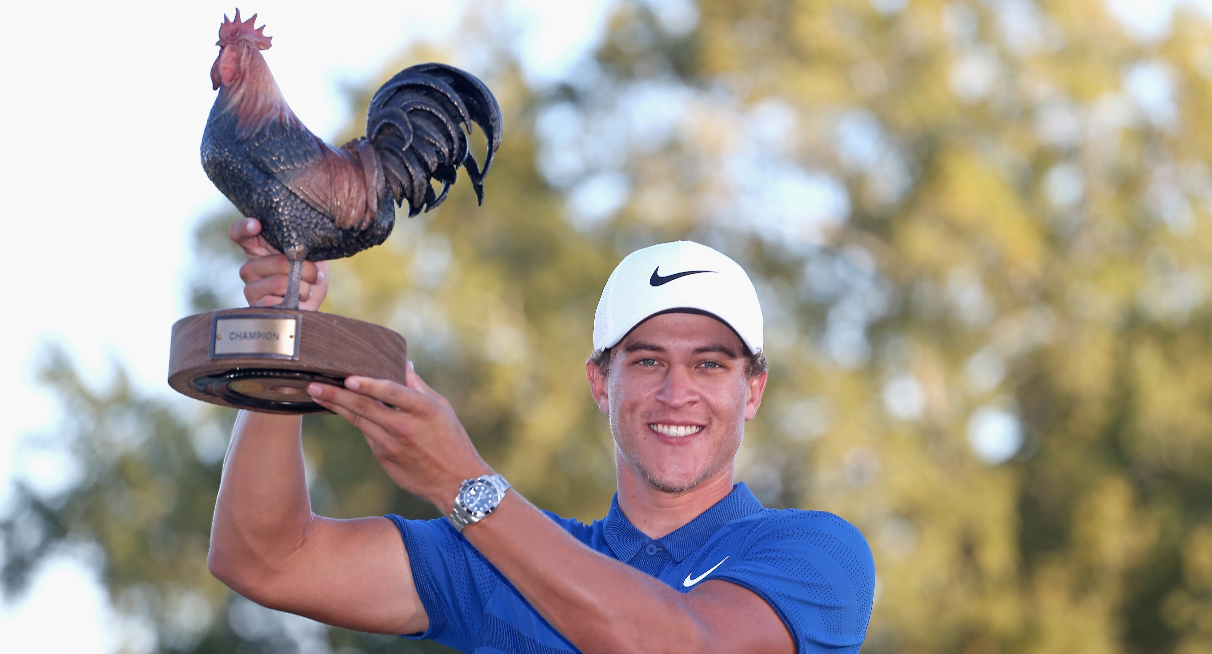 JACKSON, MS - OCTOBER 28: Cameron Champ poses with the trophy after winning the Sanderson Farms Championship at the Country Club of Jackson on October 28, 2018 in Jackson, Mississippi. (Photo by Matt Sullivan/Getty Images)