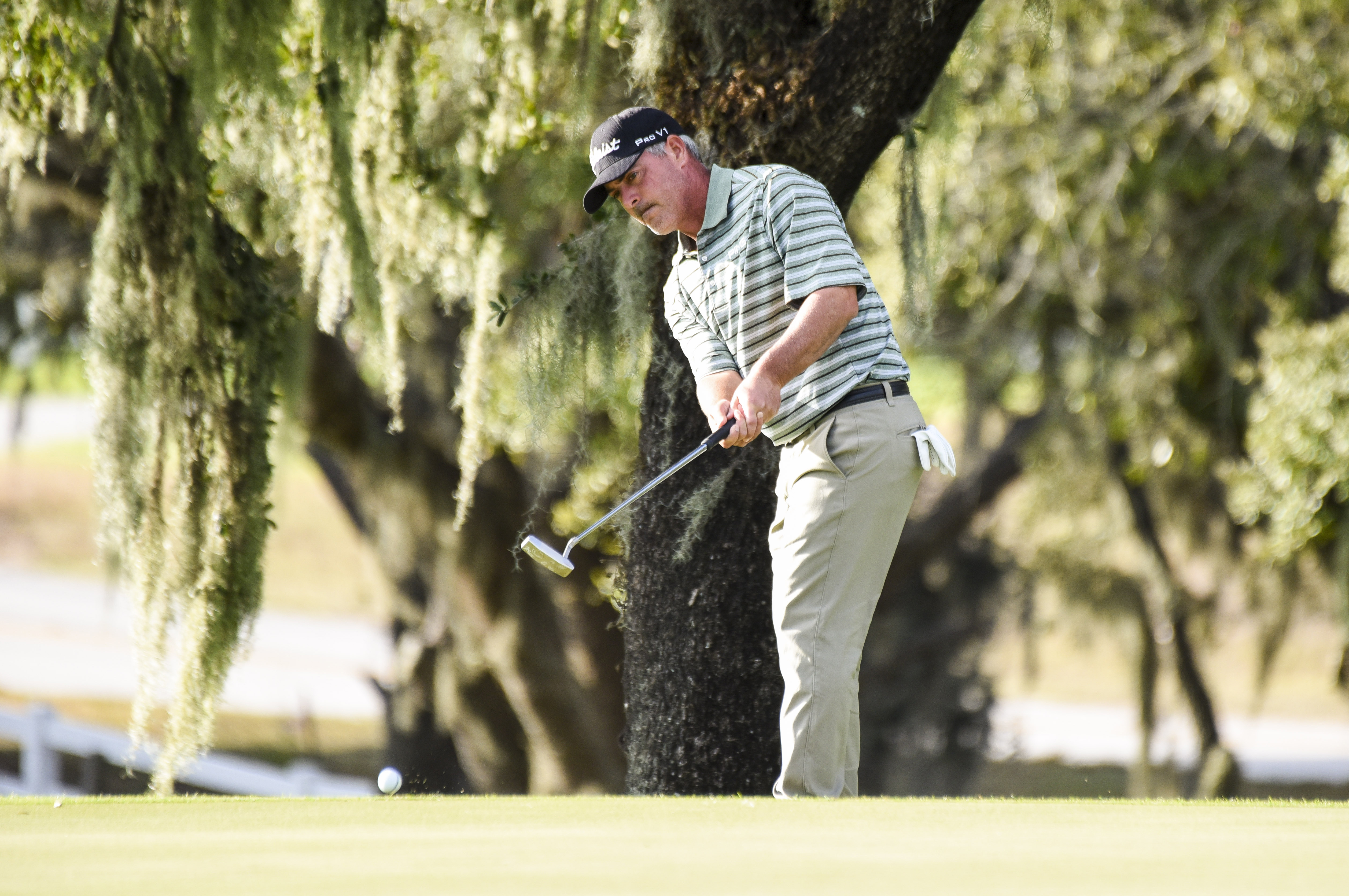 WINTER GARDEN, FL - DECEMBER 10: David Branshaw putts on the 18th hole green of the Panther Lake Course during the third round of Web.com Tour Q-School at Orange County National Golf Center and Lodge on December 10, 2016 in Winter Garden, Florida. (Photo by Keyur Khamar/PGA TOUR)