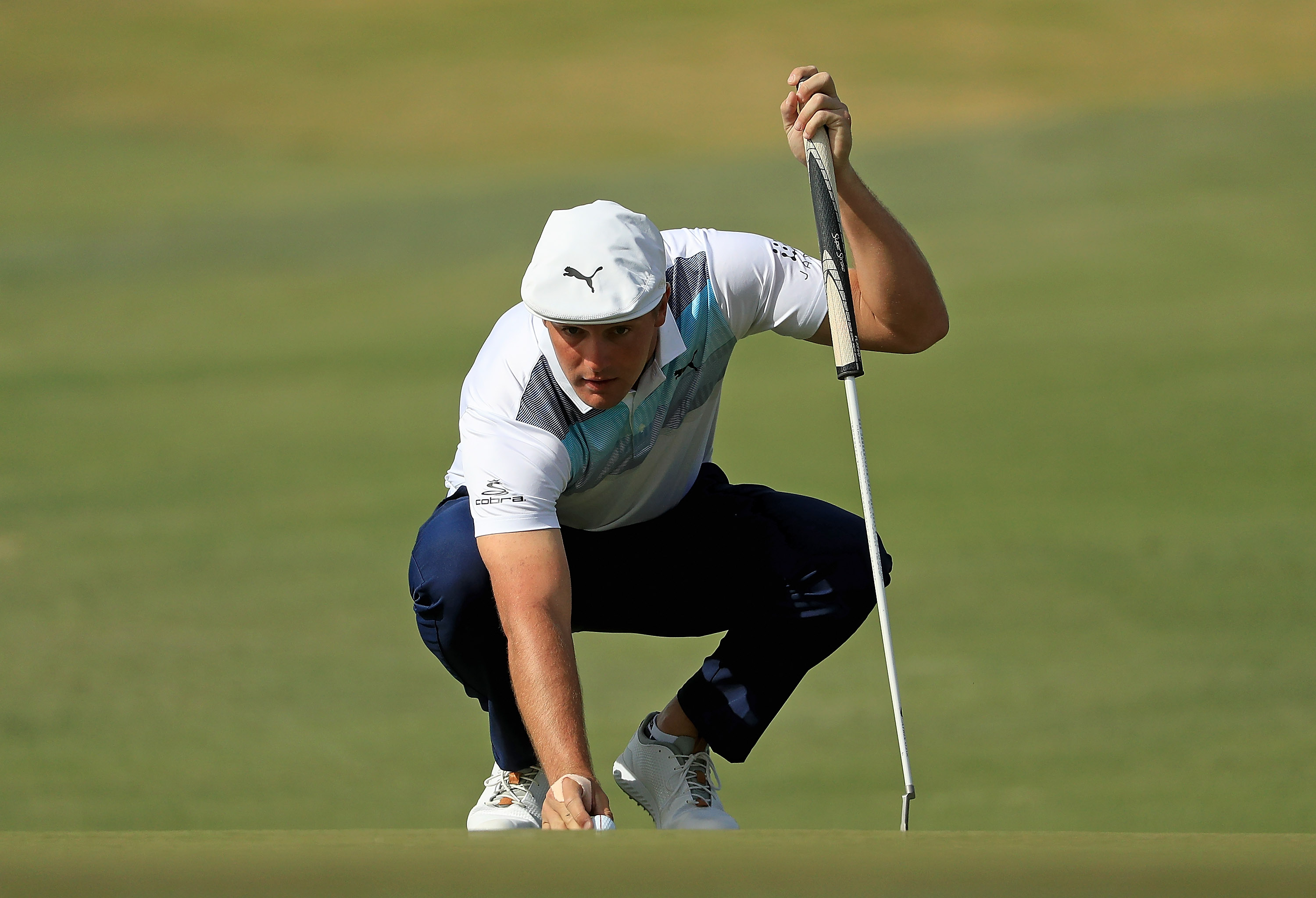 LAS VEGAS, NV - NOVEMBER 04: Bryson DeChambeau lines up a putt on the 2nd hole green during the final round of the Shriners Hospitals for Children Open at TPC Summerlin on November 4, 2018 in Las Vegas, Nevada. (Photo by Mike Ehrmann/Getty Images)