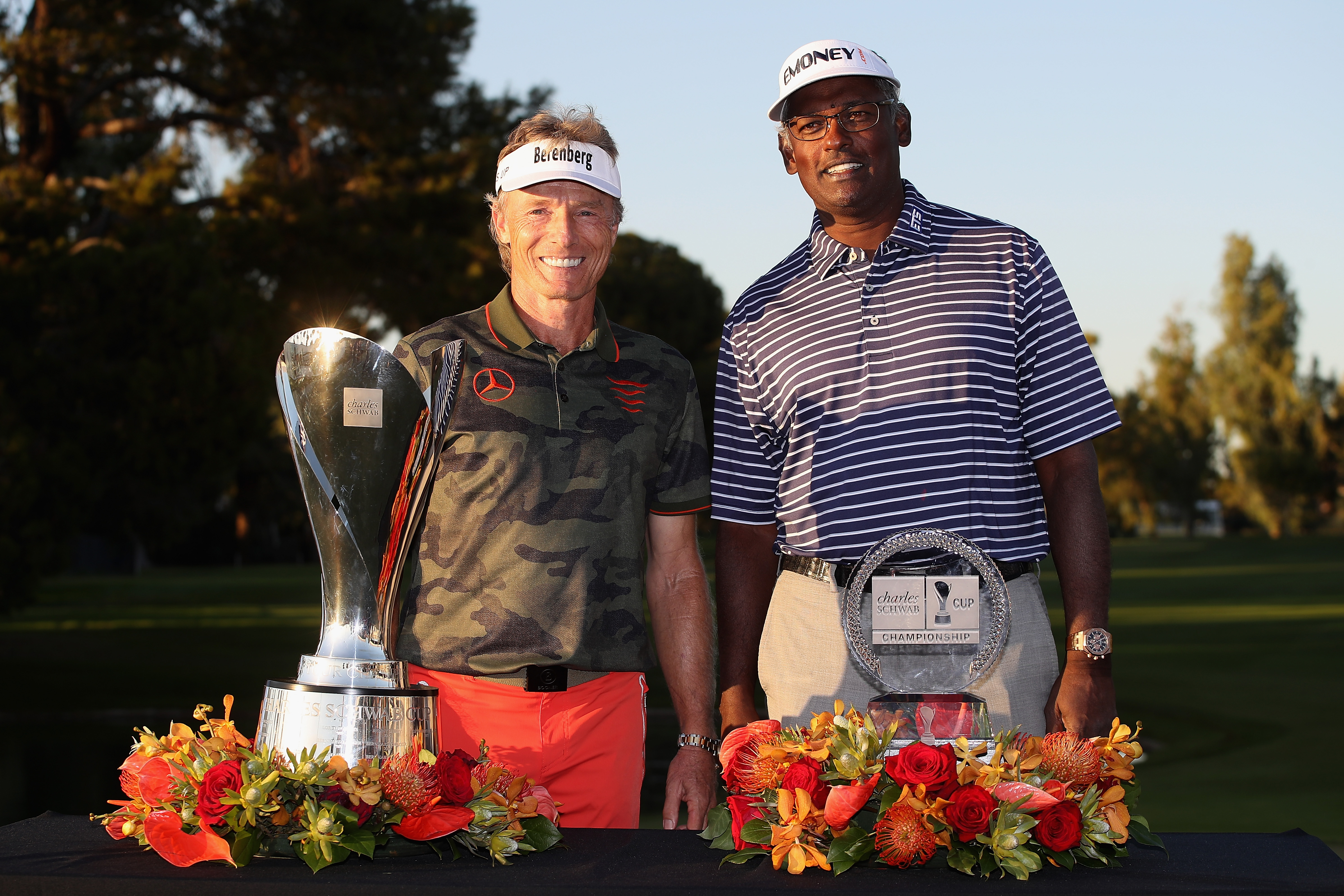 PHOENIX, AZ - NOVEMBER 11: Bernhard Langer of Germany winner of the Charles Schwab Cup and Vijay Singh of Fiji Islands winner of the Charles Schwab Cup Championship pose together at Phoenix Country Club on November 11, 2018 in Phoenix, Arizona. (Photo by Christian Petersen/Getty Images)