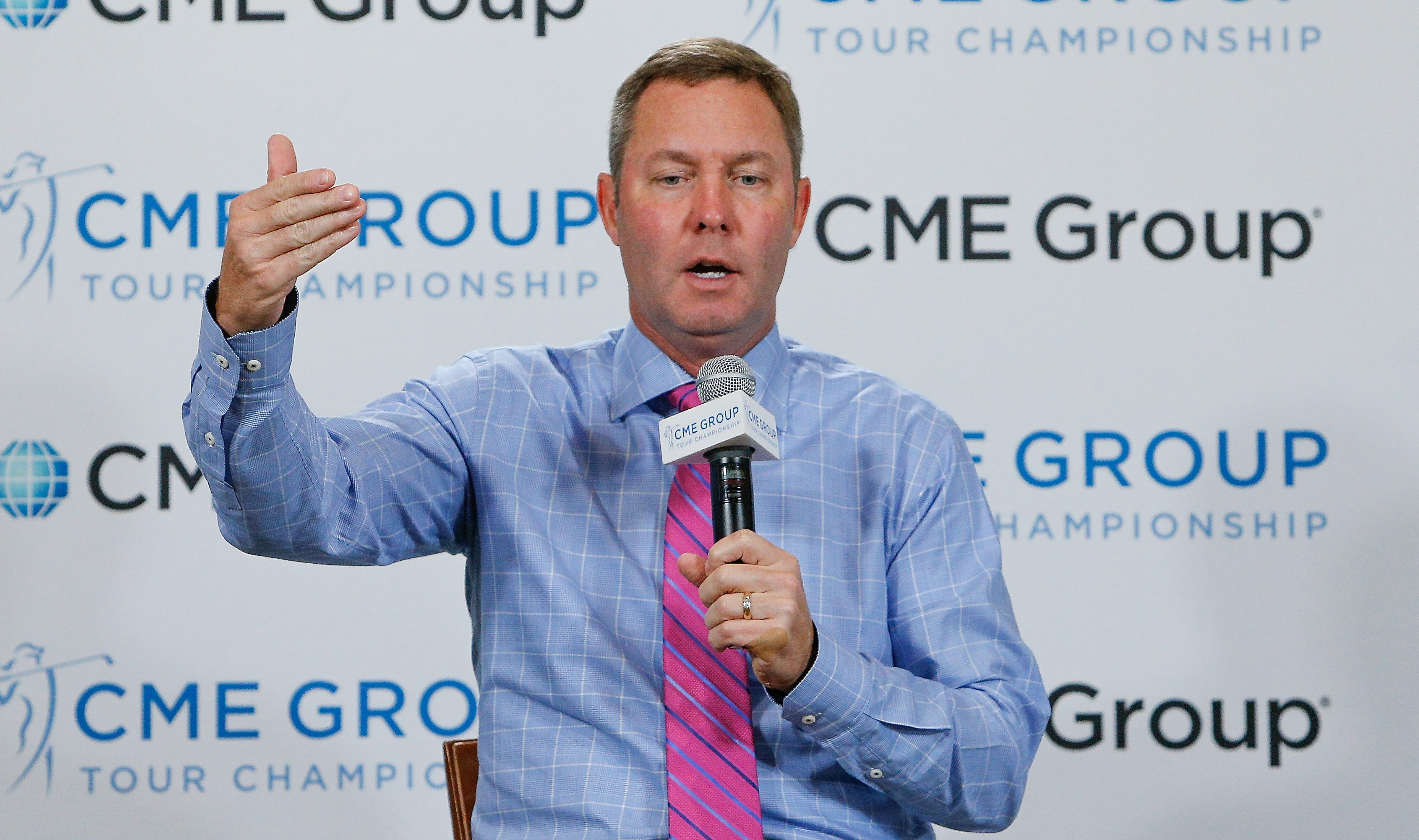 NAPLES, FL - NOVEMBER 16: LPGA Commissioner Michael Whan address the media during State of the LPGA at the CME Group Tour Championship at Tiburon Golf Club on November 16, 2018 in Naples, Florida. (Photo by Michael Reaves/Getty Images)
