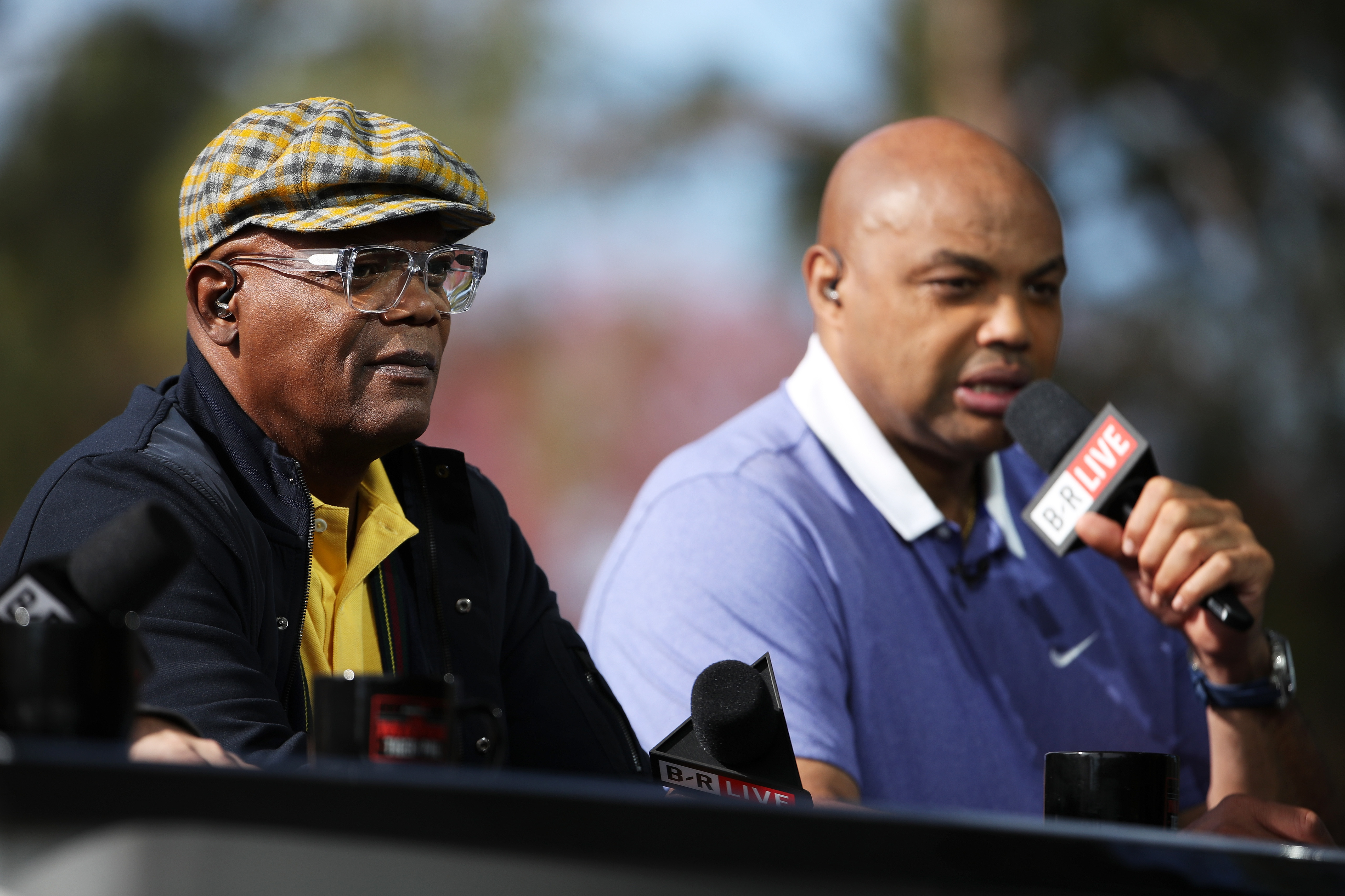 LAS VEGAS, NV - NOVEMBER 23: Commentators Samuel L. Jackson and Charles Barkley look on prior to The Match: Tiger vs Phil at Shadow Creek Golf Course on November 23, 2018 in Las Vegas, Nevada. (Photo by Christian Petersen/Getty Images for The Match)