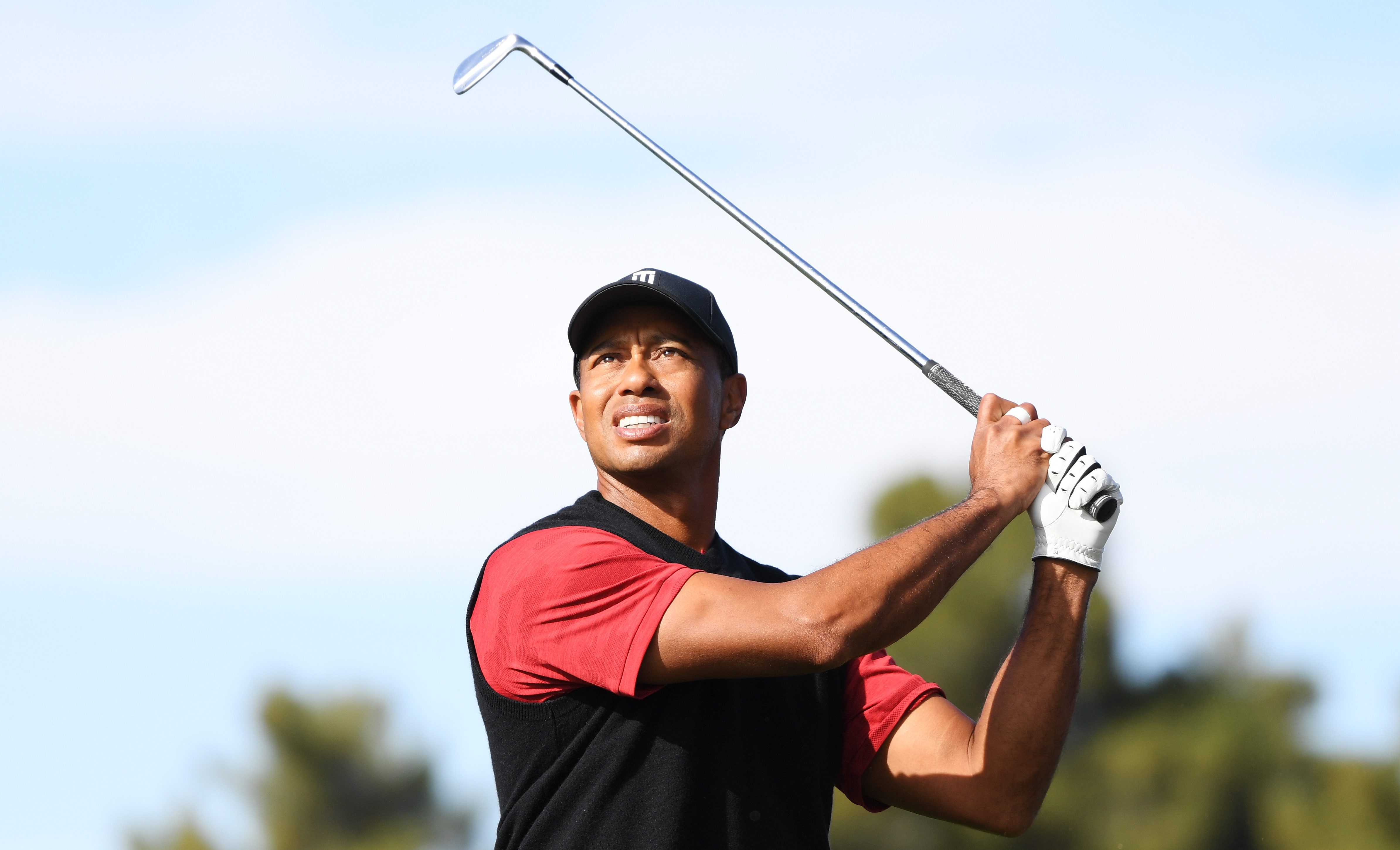 LAS VEGAS, NV - NOVEMBER 23: Tiger Woods plays his second shot on the second hole during The Match: Tiger vs Phil at Shadow Creek Golf Course on November 23, 2018 in Las Vegas, Nevada. (Photo by Harry How/Getty Images for The Match)