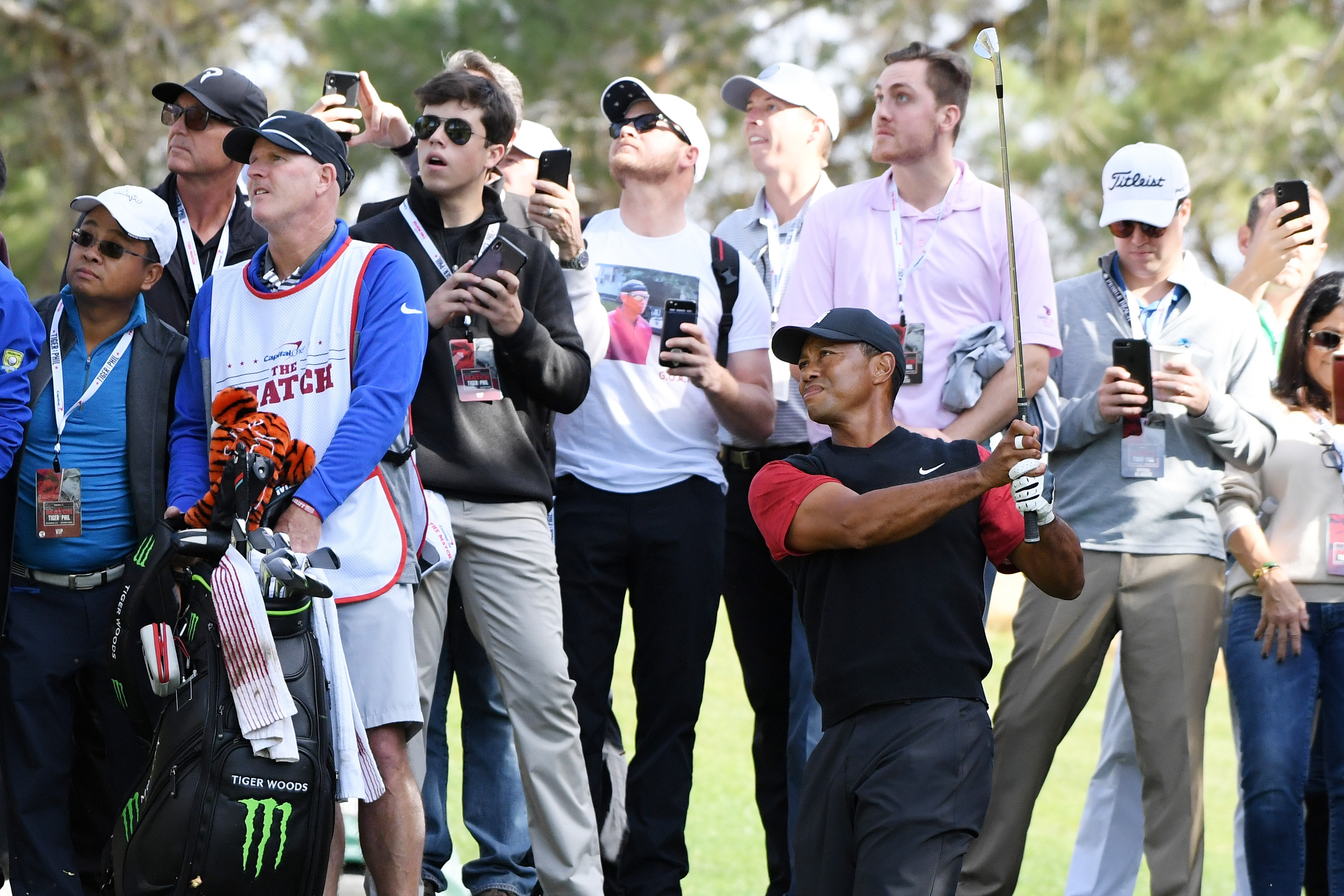 LAS VEGAS, NV - NOVEMBER 23: Tiger Woods plays his second shot on the third hole during The Match: Tiger vs Phil at Shadow Creek Golf Course on November 23, 2018 in Las Vegas, Nevada. (Photo by Harry How/Getty Images for The Match)