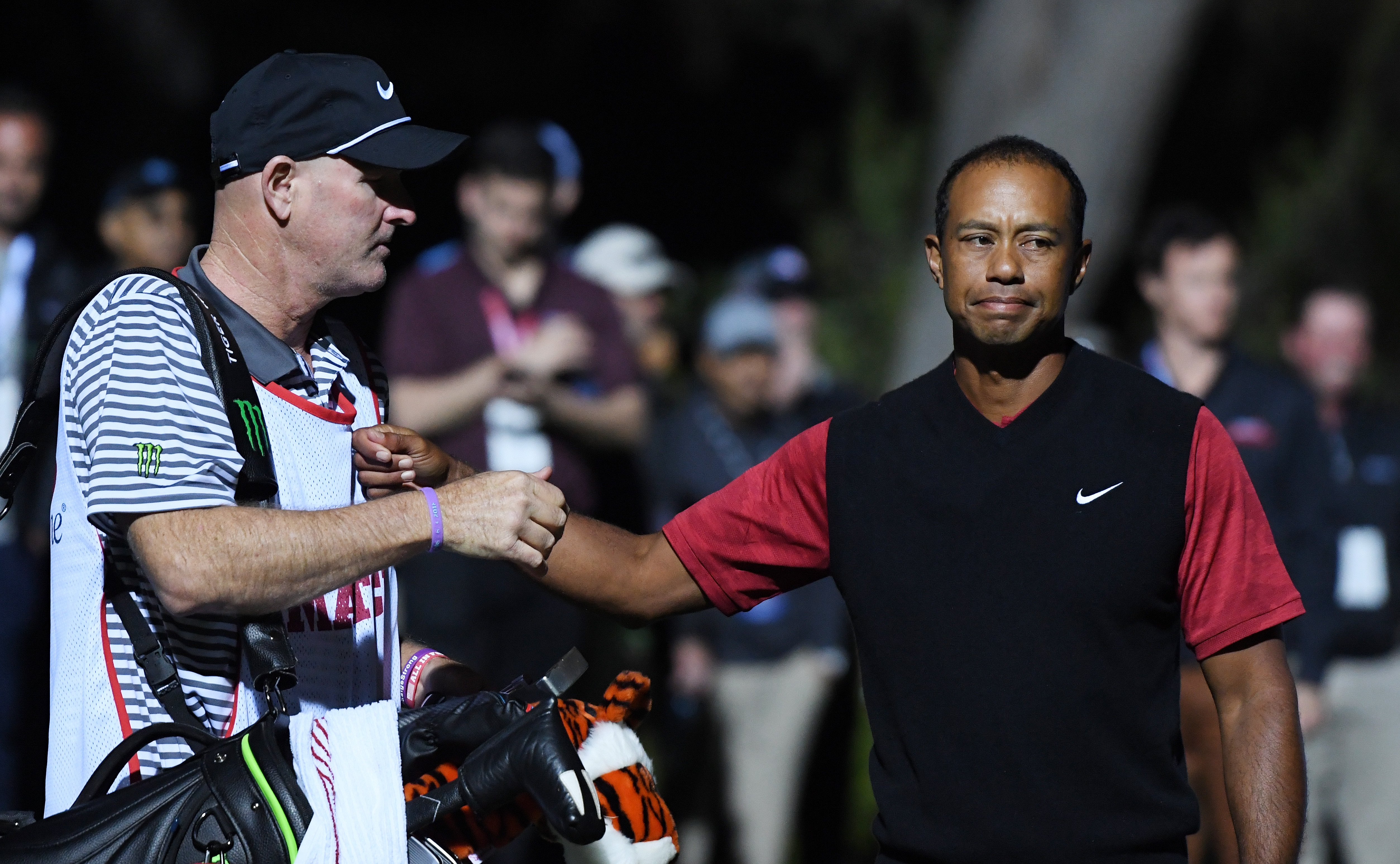 LAS VEGAS, NV - NOVEMBER 23: Tiger Woods and caddie Joe LaCava react after Woods lost to Phil Mickelson during The Match: Tiger vs Phil at Shadow Creek Golf Course on November 23, 2018 in Las Vegas, Nevada. (Photo by Harry How/Getty Images for The Match)