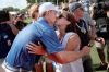 FORT WORTH, TX - MAY 29: Jordan Spieth kisses his girlfriend, Annie Verret, after winning the DEAN & DELUCA Invitational at Colonial Country Club on May 29, 2016 in Fort Worth, Texas. (Photo by Tom Pennington/Getty Images)