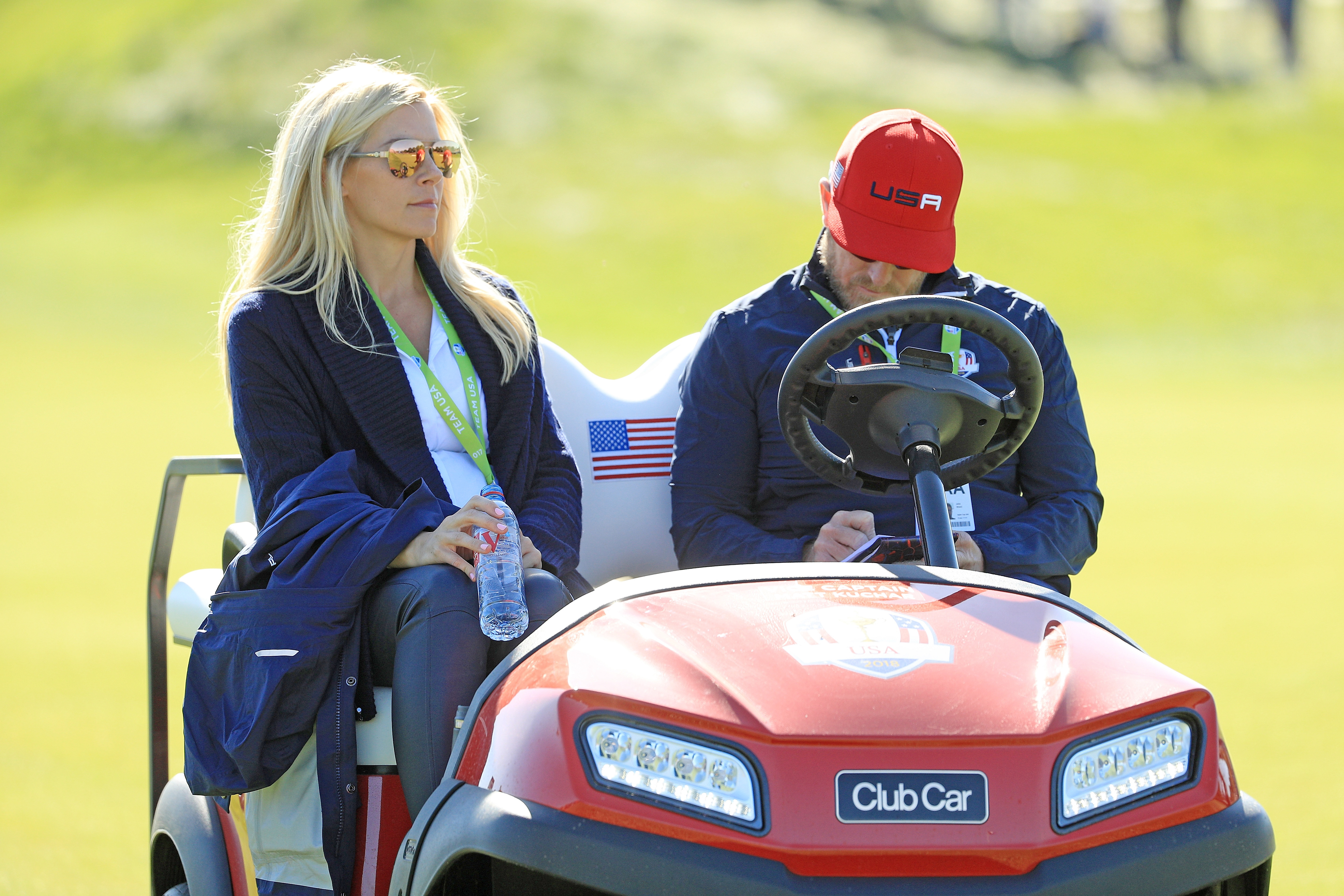 PARIS, FRANCE - SEPTEMBER 30: Webb Simpson of the United States wife Dowd Simpson and John Wood during singles matches of the 2018 Ryder Cup at Le Golf National on September 30, 2018 in Paris, France. (Photo by Mike Ehrmann/Getty Images)