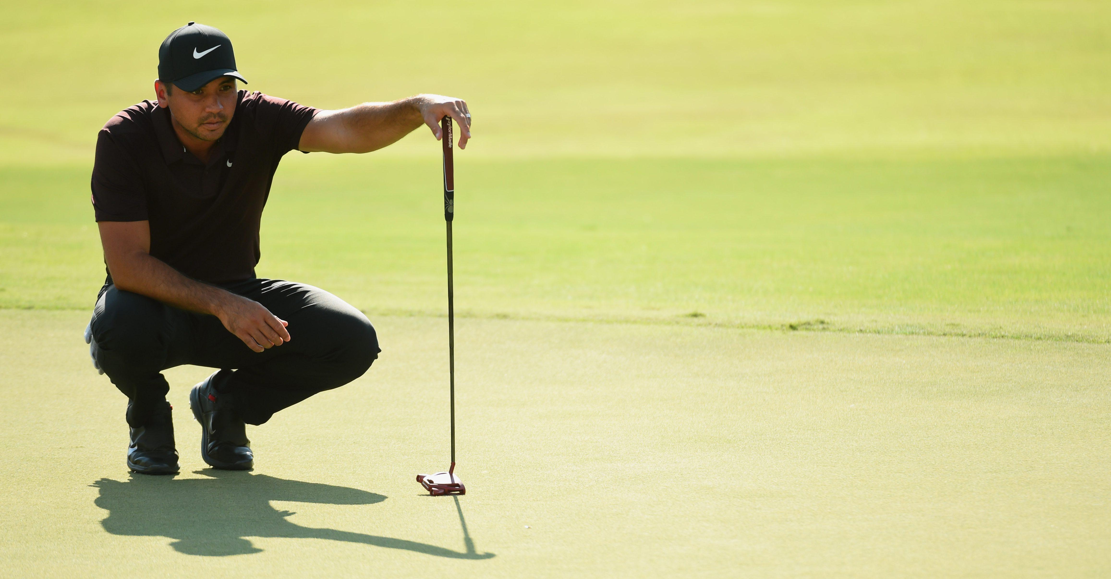 Sep 21, 2018; Atlanta, GA, USA; Jason Day on the 18th green during Tour Championship golf tournament at East Lake Golf Club. Mandatory Credit: John David Mercer-USA TODAY Sports