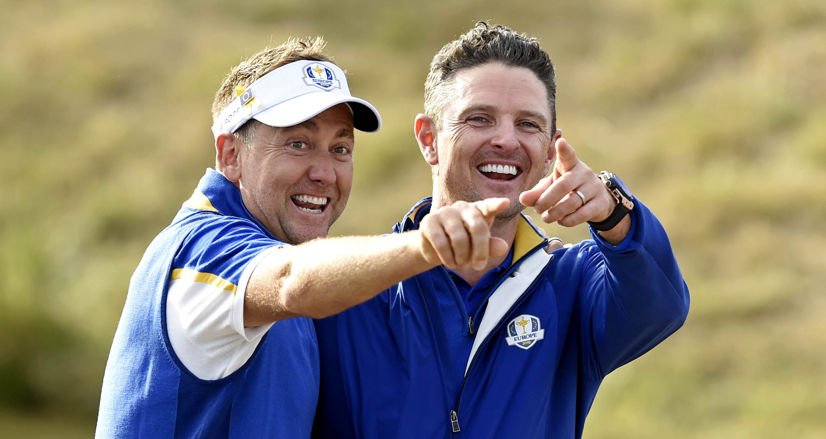 Sep 30, 2018; Paris, FRA; Europe golfer Ian Poulter and Europe golfer Justin Rose celebrate after the Ryder Cup Sunday singles matches at Le Golf National. Mandatory Credit: Ian Rutherford-USA TODAY Sports