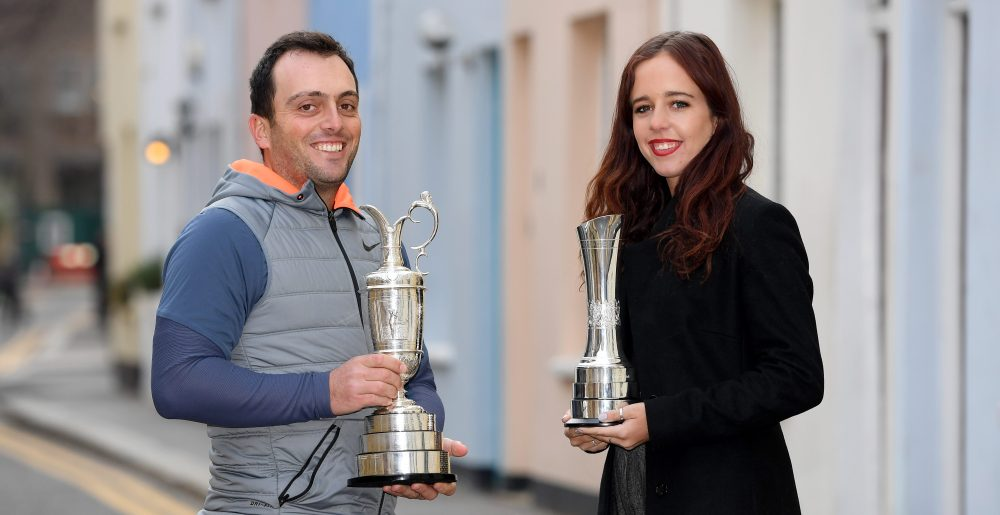 LONDON, ENGLAND - DECEMBER 14: Francesco Molinari of Italy and Georgia Hall of England pose with their British Open trophies during a photo opportunity on December 14, 2018 in London, England. (Photo by Ross Kinnaird/Getty Images)