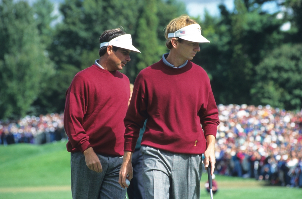 UNITED STATES - FEBRUARY 21: Fred Couples and Brad Faxon during the 31st Ryder Cup held at the Oak Hill Country Club in Rochester, New York. September 22-24, 1995. (photograph by The PGA of America). (Photo by Montana Pritchard/PGA of America via Getty Images)