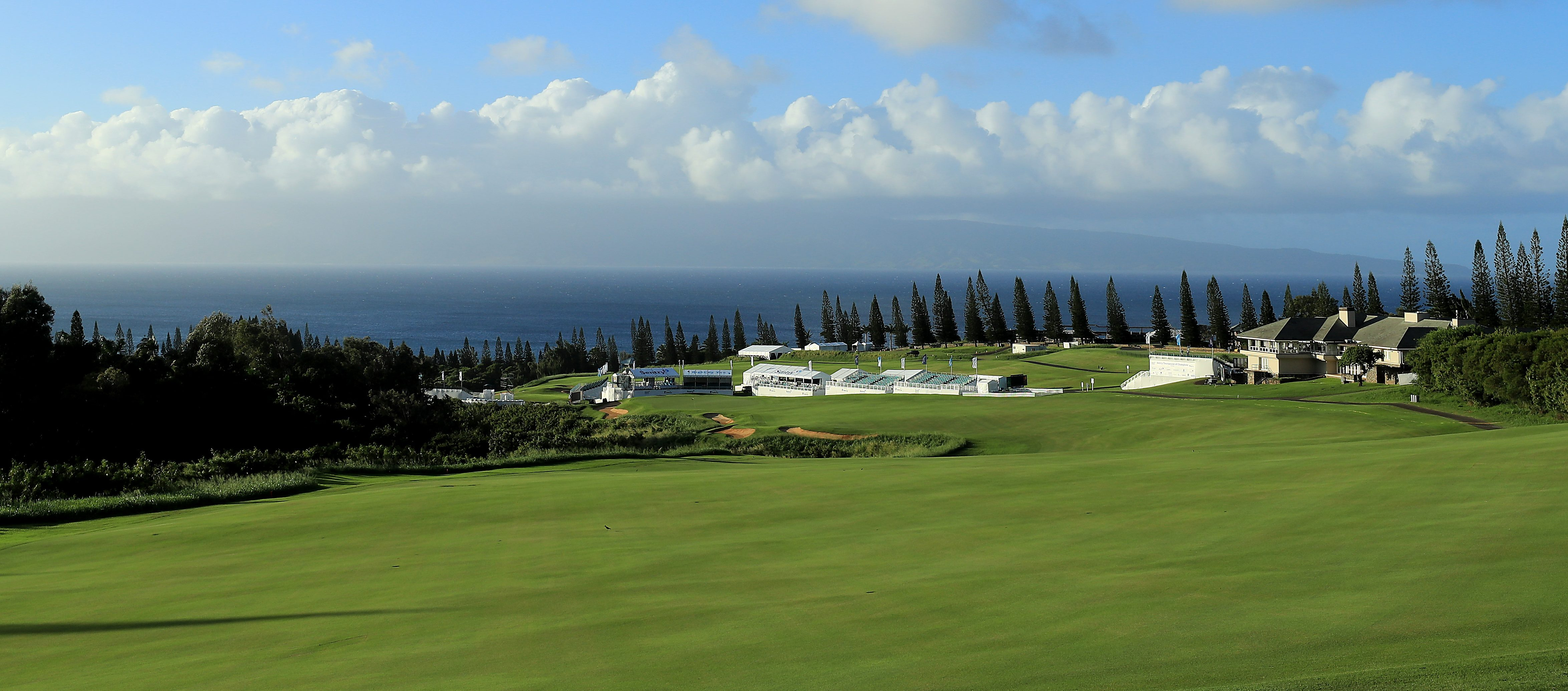 LAHAINA, HAWAII - DECEMBER 31: A general view of the 18th hole as seen during a practice round prior to the Sentry Tournament of Champions at Kapalua Golf Club Plantation course on December 31, 2018 in Lahaina, Hawaii. (Photo by Sam Greenwood/Getty Images)