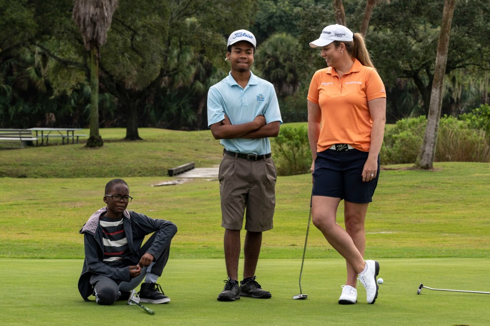 Dec 15, 2018; Gulfport, FL, USA; Central Florida native Brittany Lincicome shows off her new First Tee facility in St. Petersburg ahead of her annual charity event and the new Diamond Resorts TOC in Orlando. Brittany has won the last two season-opening events on the LPGA schedule in the Bahamas. She's now among the headliners at the 2019 season-opening TOC, held on a course in which she has competed against Champions Tour players. Mandatory Credit: Douglas DeFelice-USA TODAY Sports