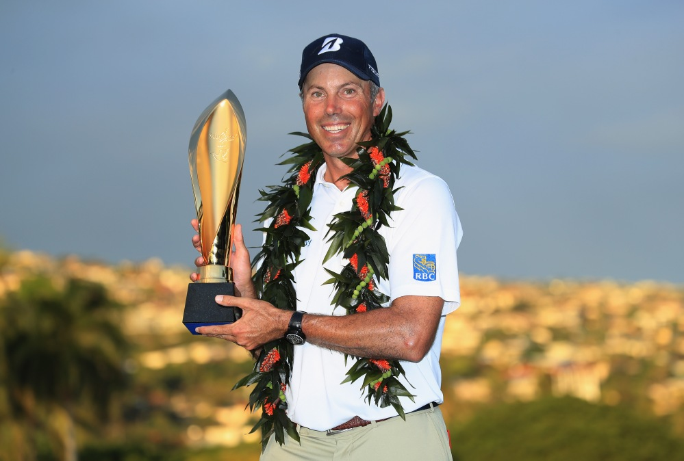 HONOLULU, HI - JANUARY 13: Matt Kuchar of the United States poses with the trophy after winning the Sony Open In Hawaii at Waialae Country Club on January 13, 2019 in Honolulu, Hawaii. (Photo by Sam Greenwood/Getty Images)