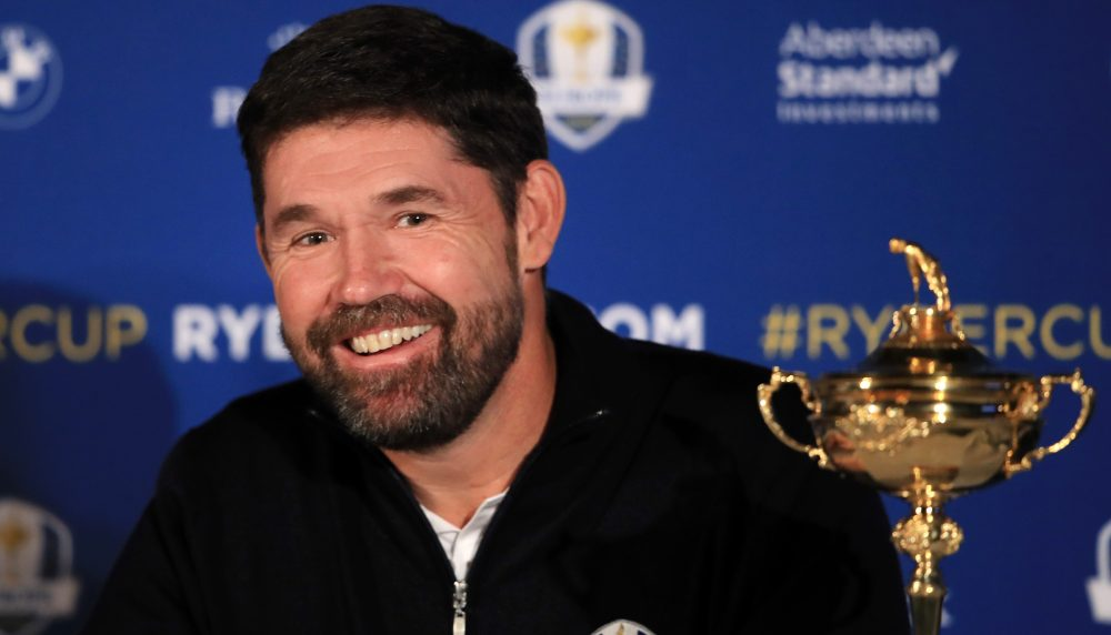 VIRGINIA WATER, ENGLAND - JANUARY 08: Padraig Harrington reacts when he speaks to the media as he is named European Ryder Cup Captain for 2020 during a press conference at Wentworth on January 08, 2019 in Virginia Water, England. The 43rd Ryder Cup will be held from September 25 to 27, 2020, taking place on the Straits course at Whistling Straits, Haven, Wisconsin, United States. (Photo by Andrew Redington/Getty Images)