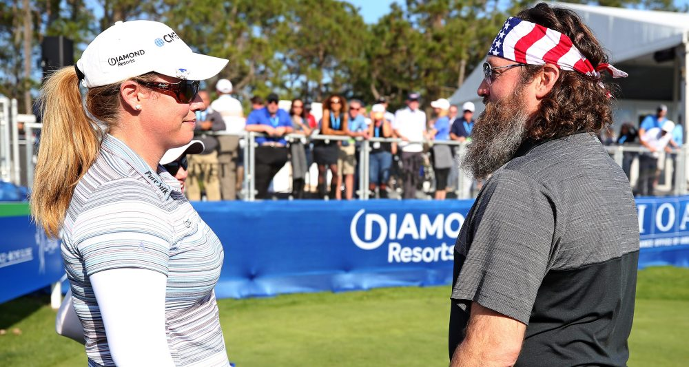 LAKE BUENA VISTA, FLORIDA - JANUARY 17: Brittany Lincicome talks with TV Personality Willie Robertson during the first round of the Diamond Resorts Tournament of Champions at Tranquilo Golf Course at Four Seasons Golf and Sports Club Orlando on January 17, 2019 in Lake Buena Vista, Florida. (Photo by Matt Sullivan/Getty Images)