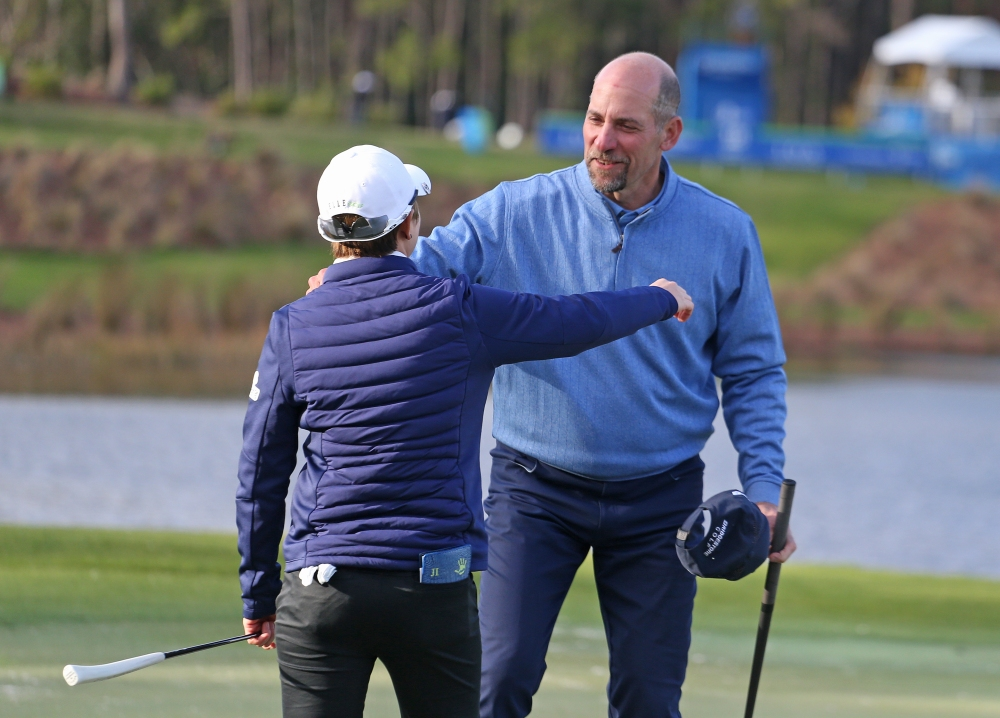 LAKE BUENA VISTA, FLORIDA - JANUARY 20: Eun-Hee Ji of South Korea celebrates with former MLB pitcher John Smoltz after winning the Diamond Resorts Tournament of Champions at Tranquilo Golf Course at Four Seasons Golf and Sports Club Orlando on January 20, 2019 in Lake Buena Vista, Florida. (Photo by Matt Sullivan/Getty Images)