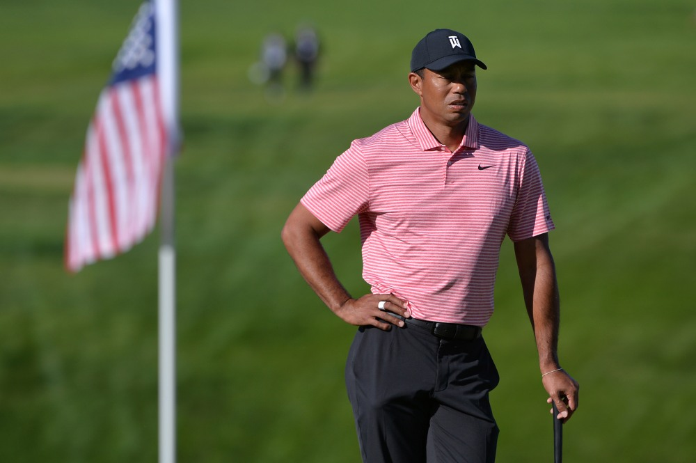 Jan 27, 2019; San Diego, CA, USA; Tiger Woods looks on from the 13th green during the final round of the Farmers Insurance Open golf tournament at Torrey Pines Municipal Golf Course - South Course. Mandatory Credit: Orlando Ramirez-USA TODAY Sports