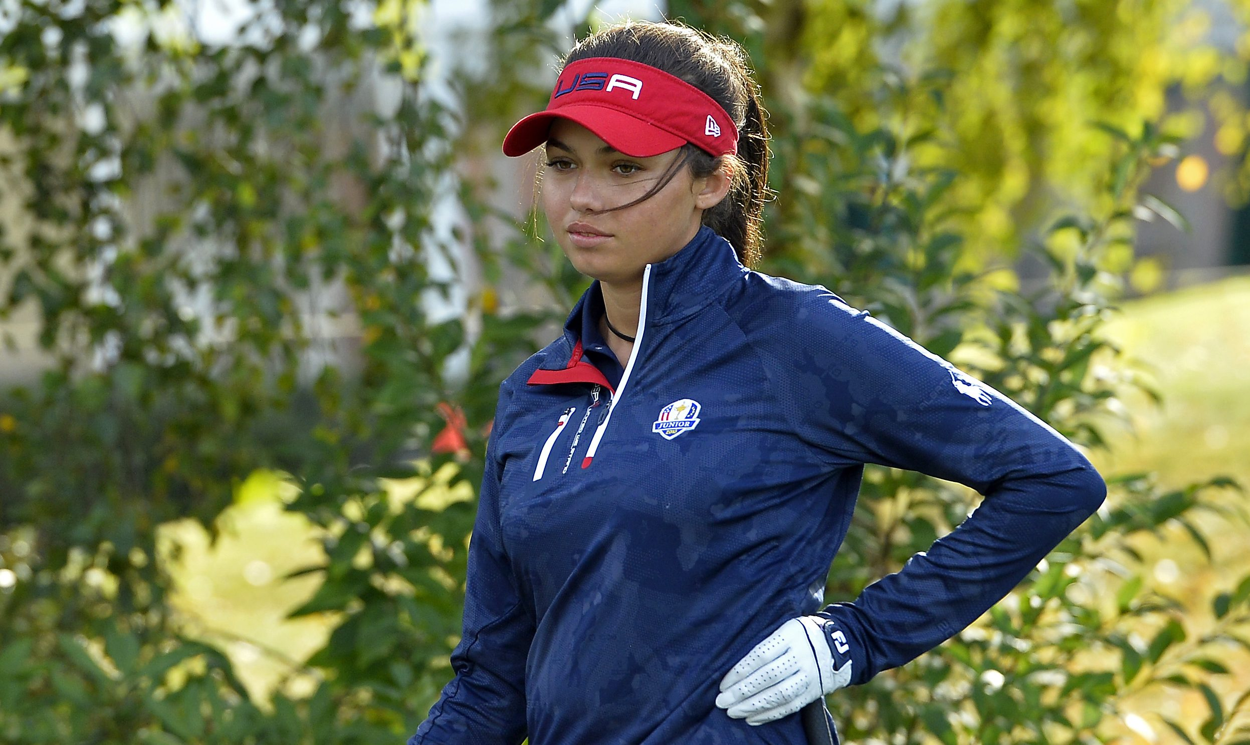 PARIS, FRANCE - SEPTEMBER 22: Alexa Pano of the United States reacts during a training session prior to the Junior Ryder Cup at Disneyland Paris on September 22, 2018 in Paris, France. (Photo by Aurelien Meunier/Getty Images)