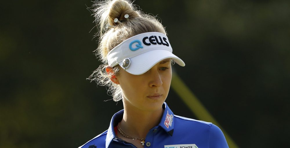 OTSU, JAPAN - NOVEMBER 03: Nelly Korda of United States prepares to putt on the sixth green during the second round of the TOTO Japan Classic at Seta Golf Course on November 03, 2018 in Otsu, Shiga, Japan. (Photo by Ken Ishii/Getty Images)