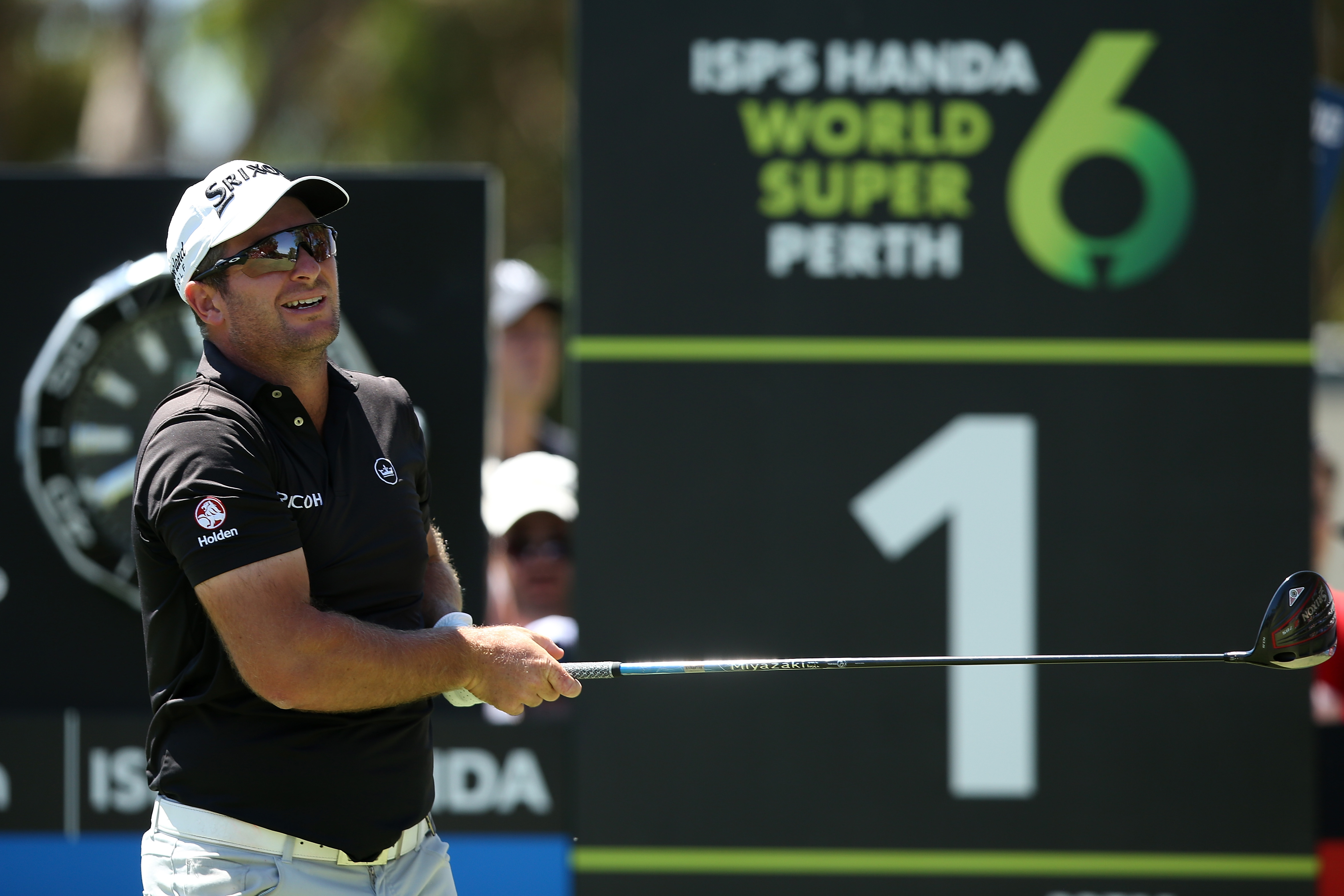 PERTH, AUSTRALIA - FEBRUARY 17: Ryan Fox of New Zealand watches his tee shot on the 1st hole during day 4 of the ISPS Handa World Super 6 Perth at Lake Karrinyup Country Club on February 17, 2019 in Perth, Australia. (Photo by Paul Kane/Getty Images)