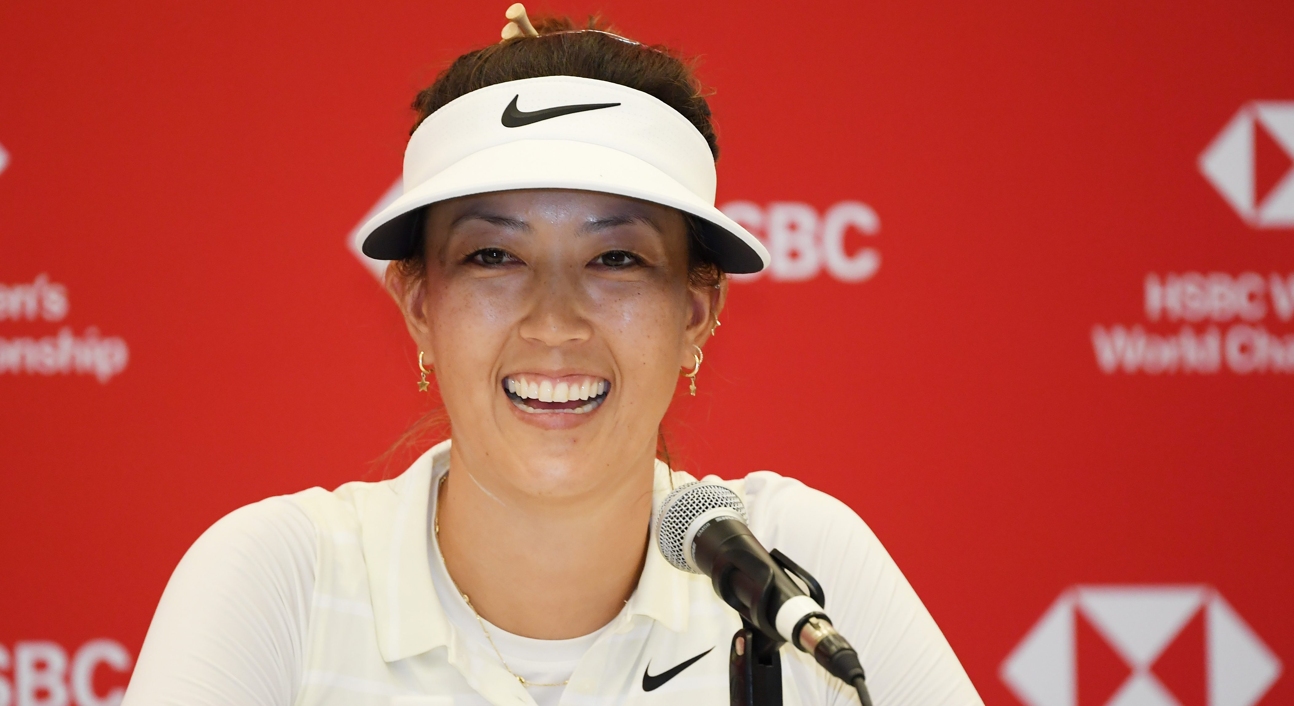 SINGAPORE, SINGAPORE - FEBRUARY 26: Michelle Wie of United States speaks to the media during a press conference prior to the HSBC Women's World Championship at Sentosa Golf Club on February 26, 2019 in Singapore. (Photo by Ross Kinnaird/Getty Images)
