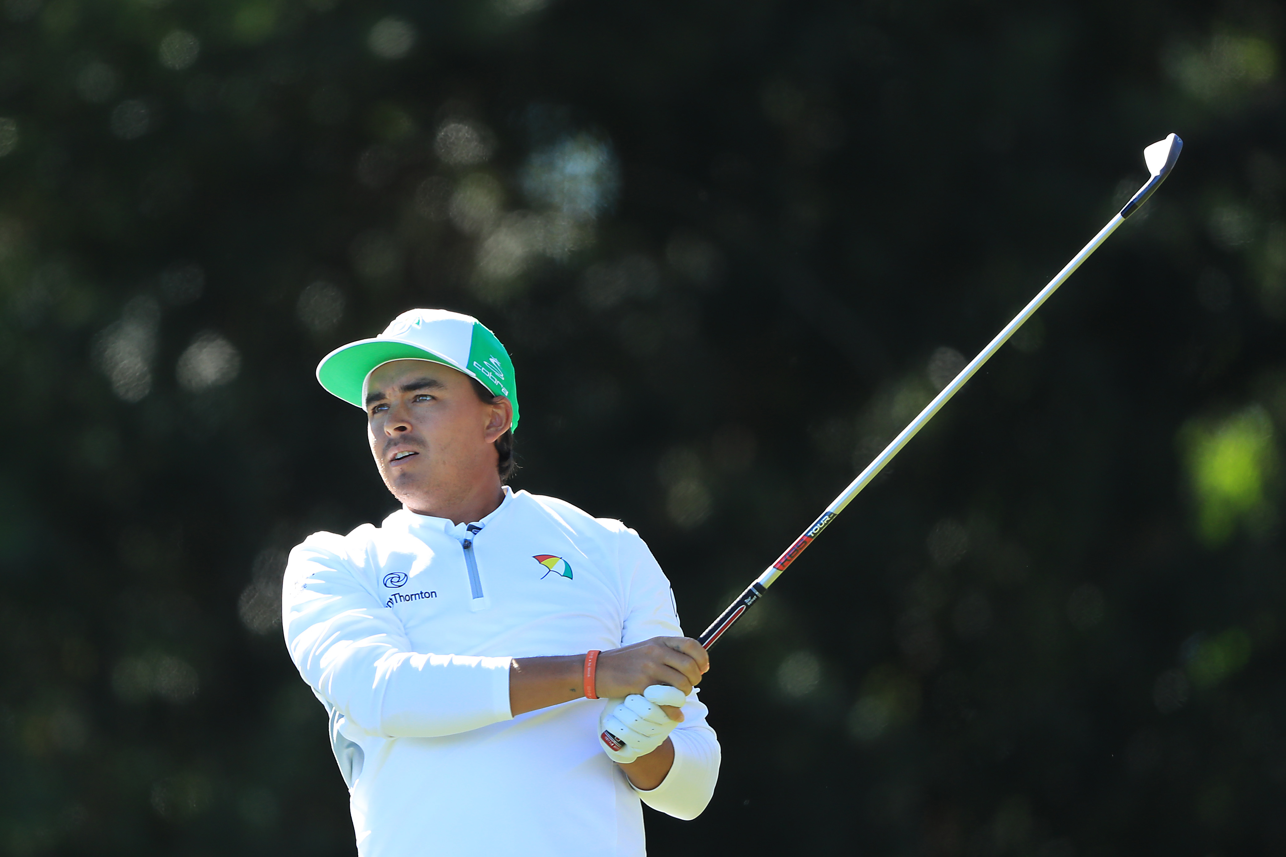 ORLANDO, FLORIDA - MARCH 07: Rickie Fowler of the United States plays his tee shot on the 17th hole during the first round of the Arnold Palmer Invitational Presented by Mastercard at the Bay Hill Club on March 07, 2019 in Orlando, Florida. (Photo by Sam Greenwood/Getty Images)