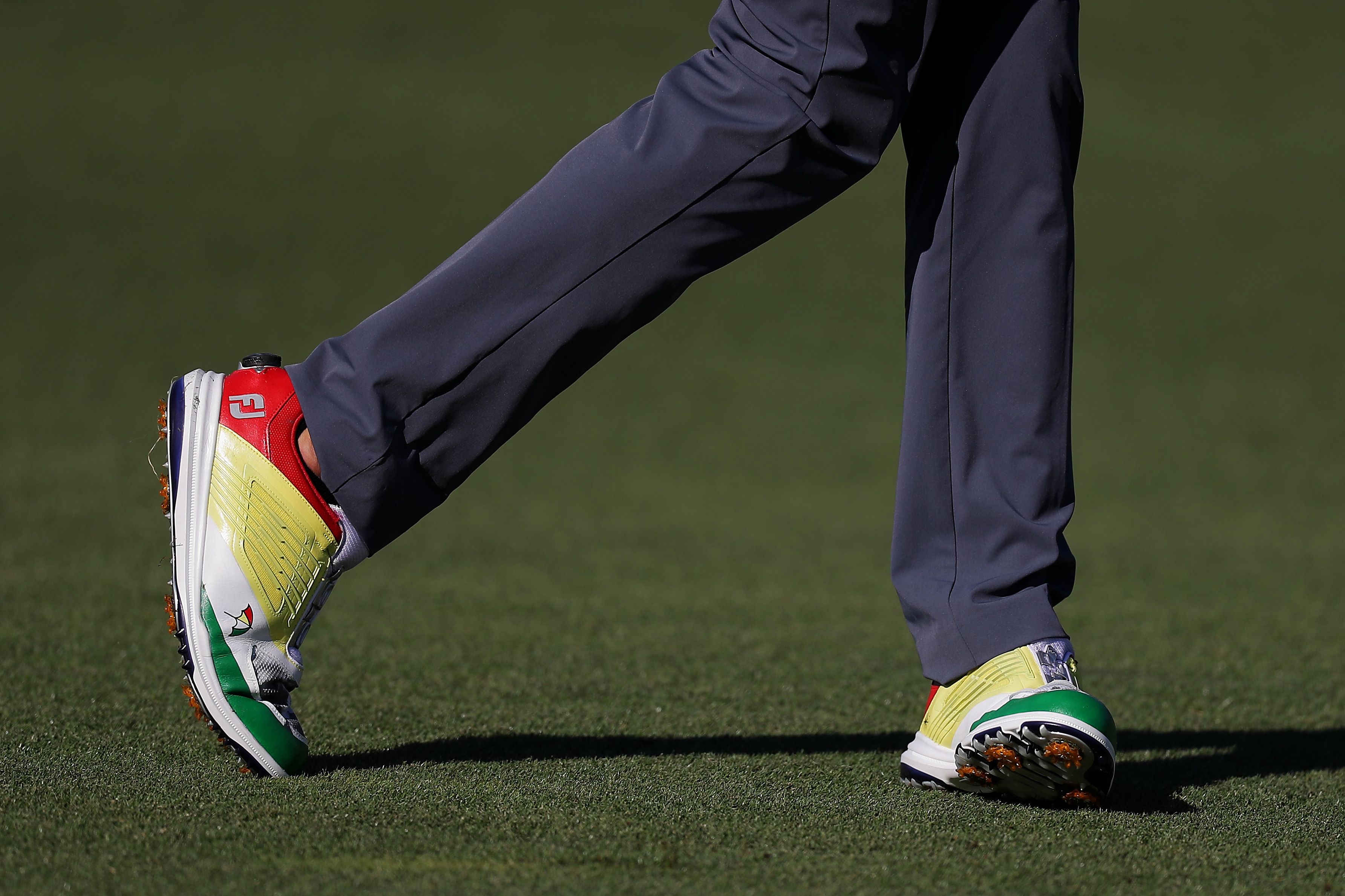 ORLANDO, FLORIDA - MARCH 07: A detailed view of shoes worn by Sam Saunders of the United States are seen as he walks the 11th hole during the first round of the Arnold Palmer Invitational Presented by Mastercard at the Bay Hill Club on March 07, 2019 in Orlando, Florida. (Photo by Richard Heathcote/Getty Images)