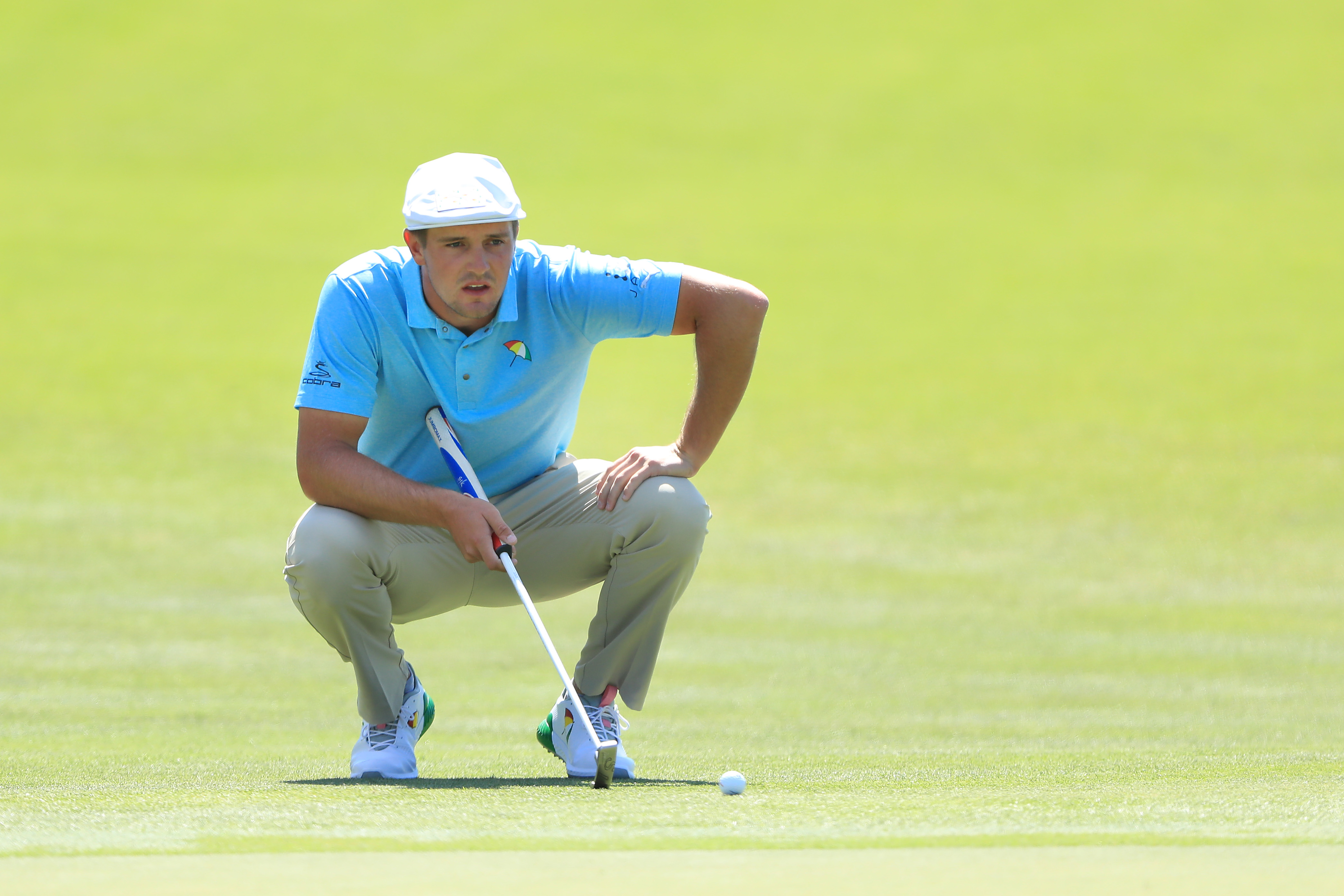 ORLANDO, FLORIDA - MARCH 07: Bryson DeChambeau of the United States lines up a putt on the second hole during the first round of the Arnold Palmer Invitational Presented by Mastercard at the Bay Hill Club on March 07, 2019 in Orlando, Florida. (Photo by Sam Greenwood/Getty Images)