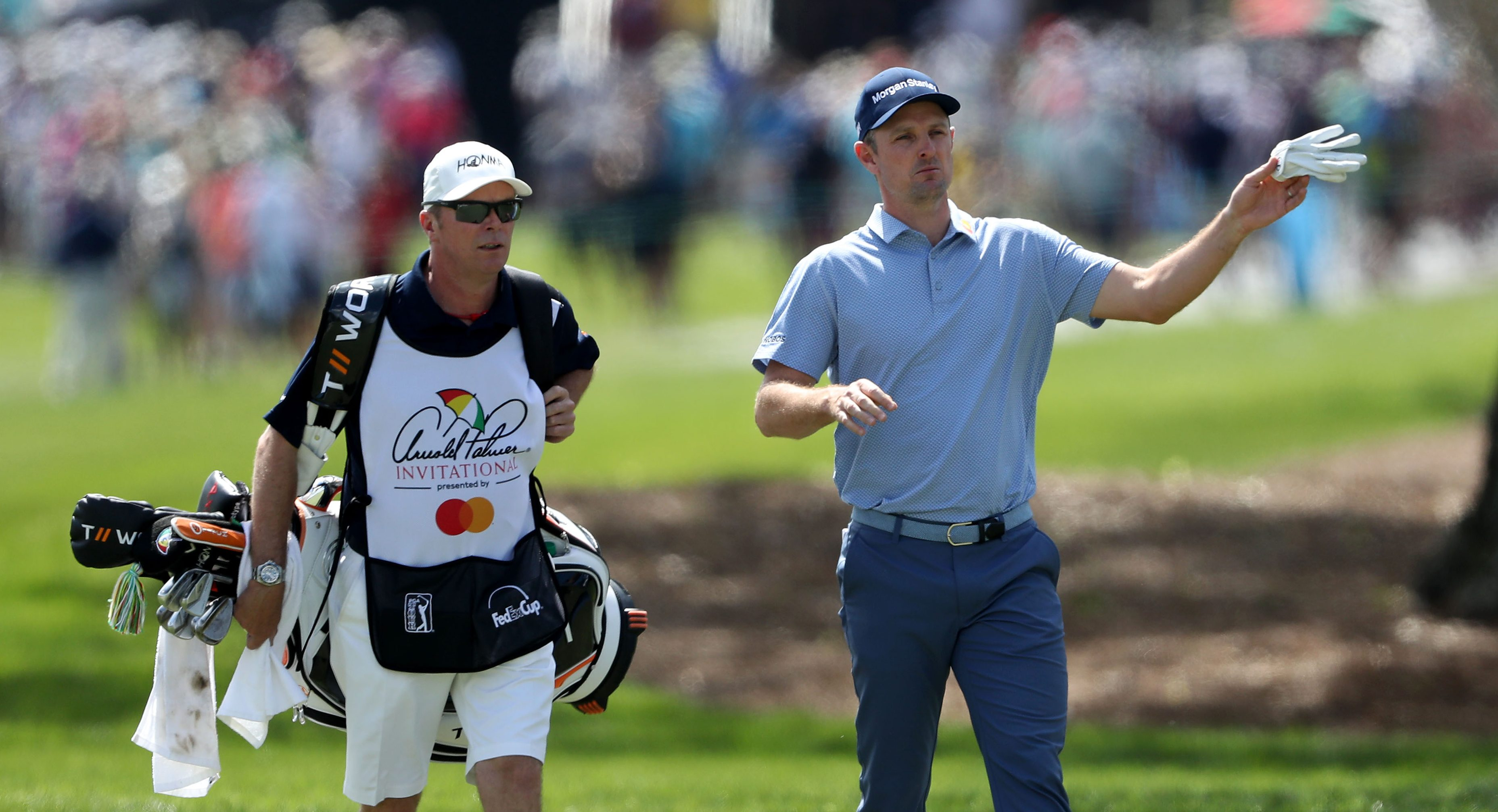 ORLANDO, FLORIDA - MARCH 08: Justin Rose of England walks to his second shot on the par 4, first hole with his caddie Gareth Lord during the second round of the 2019 Arnold Palmer Invitational presented by MasterCard at the Bay Hill Club on March 08, 2019 in Orlando, Florida. (Photo by David Cannon/Getty Images)