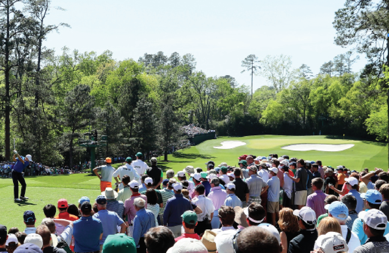 Jordan Spieth tees off on No. 4 in the 2017 Masters.