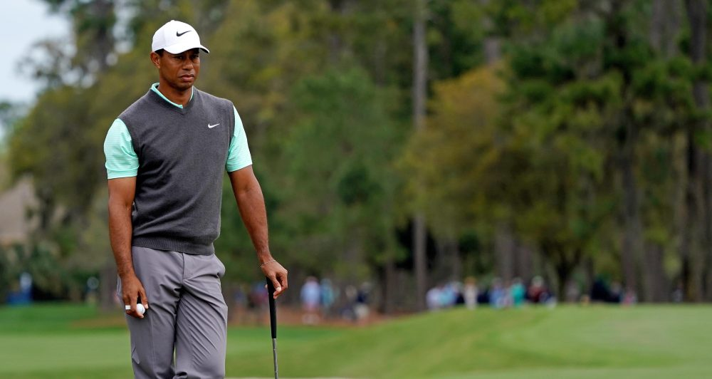 Mar 16, 2019; Ponte Vedra Beach, FL, USA; Tiger Woods stands on the 2nd green during the third round of THE PLAYERS Championship golf tournament at TPC Sawgrass - Stadium Course. Mandatory Credit: Jasen Vinlove-USA TODAY Sports