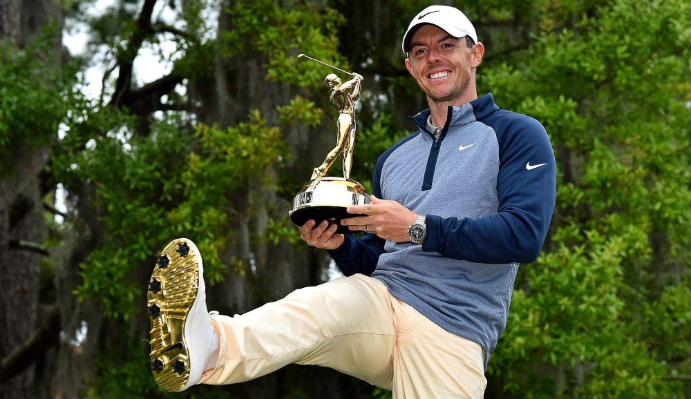 Mar 17, 2019; Ponte Vedra Beach, FL, USA; Rory McIlroy celebrate winning THE PLAYERS Championship golf tournament at TPC Sawgrass - Stadium Course. Mandatory Credit: Jasen Vinlove-USA TODAY Sports