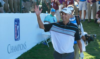 NAPLES, FL - FEBRUARY 17: Kevin Sutherland celebrates his birdie on the18th green during the third and final round of the Chubb Classic held at The Classics at Lely Resort on February 17, 2019 in Naples, Florida. (Photo by Michael Cohen/Getty Images)