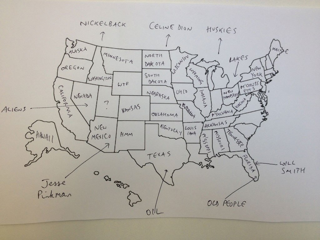 Us Map By Foreigners FUNNY: Americans And Brits Label Maps Of The USA/Europe