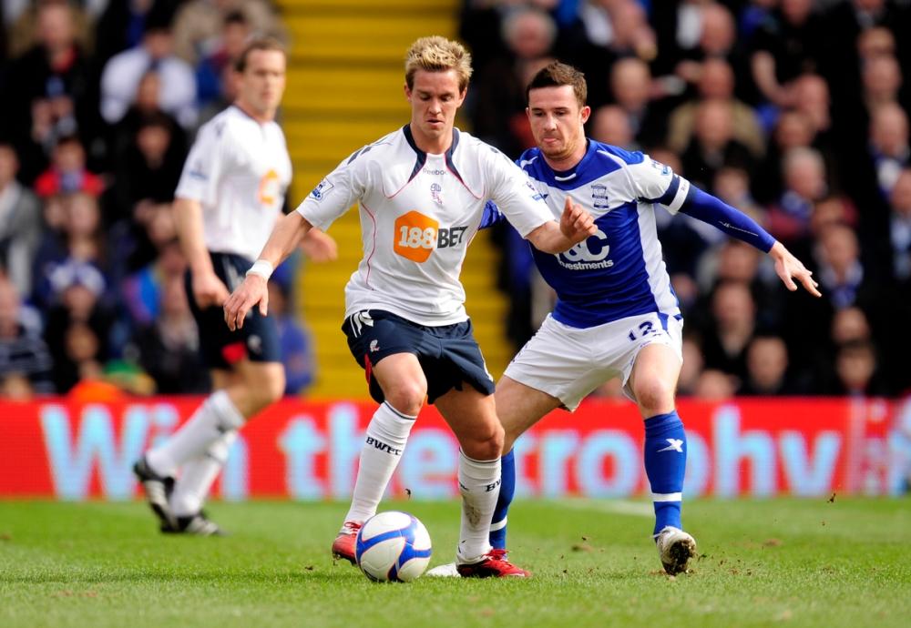 Stuart Holden of Bolton Wanderers and Barry Ferguson of Birmingham City
