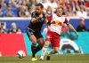 Aug 9, 2015; Harrison, NJ, USA; New York City FC midfielder Frank Lampard (8) and New York Red Bulls midfielder Dax McCarty (11) battle for a ball during the first half at Red Bull Arena. Mandatory Credit: Danny Wild-USA TODAY Sports