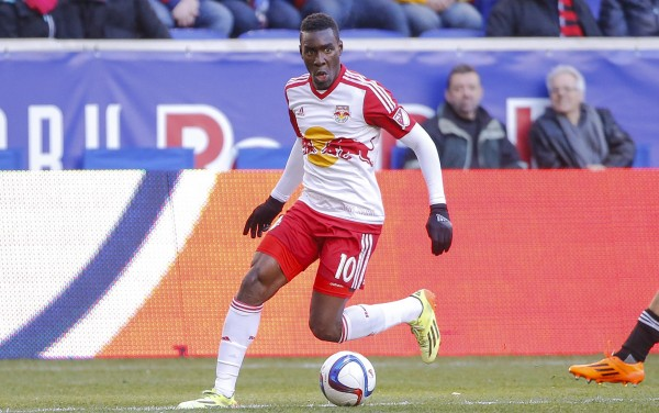 Mar 22, 2015; Harrison, NJ, USA;  New York Red Bulls midfielder Lloyd Sam (10) handles the ball during the first half against the D.C. United at Red Bull Arena. Mandatory Credit: Jim O'Connor-USA TODAY Sports