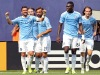 Jul 26, 2015; New York, NY, USA; New York City FC forward David Villa (7) celebrates with teammates after a goal against the Orlando City FC during the second half of a soccer match at Yankee Stadium. The New York City FC won 5-3. Mandatory Credit: Adam Hunger-USA TODAY Sports