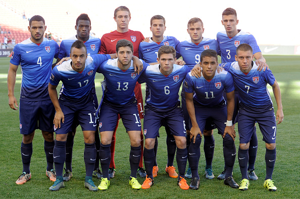 SANDY UT- OCTOBER 13: The team from the United States pose for a photo before the game against Canada during the third place CONCACAF Olympic Qualifying match at Rio Tinto Stadium on October 13, 2015 in Sandy, Utah. (Photo by Gene Sweeney Jr/Getty Images)