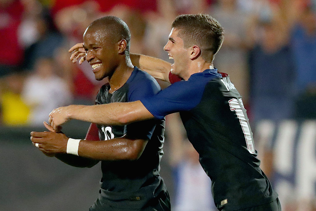 FRISCO, TX - MAY 25:  Nagbe Darlington #10 of the United States celebrates with Christian Pulisic #17 of the United States after scoring against Ecuador during an International Friendly match at Toyota Stadium on May 25, 2016 in Frisco, Texas.  (Photo by Tom Pennington/Getty Images)