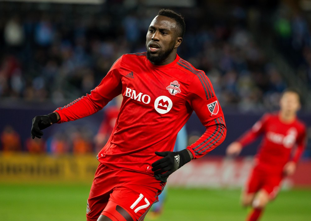 Nov 6, 2016; New York, NY, USA;  Toronto FC forward Jozy Altidore (17) during the second half of Toronto FC's 5-0 win over New York City FC at Yankee Stadium. Mandatory Credit: Winslow Townson-USA TODAY Sports