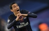 Paris Saint-Germain's Argentinian forward Angel Di Maria celebrates after scoring a goal during the UEFA Champions League round of 16 first leg football match between Paris Saint-Germain and FC Barcelona on February 14, 2017 at the Parc des Princes stadium in Paris. / AFP / CHRISTOPHE SIMON (Photo credit should read CHRISTOPHE SIMON/AFP/Getty Images)