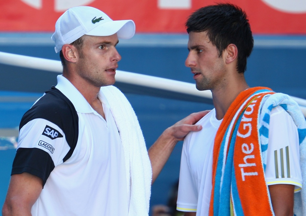 Roddick and Djokovic in happier times. (Getty Images)