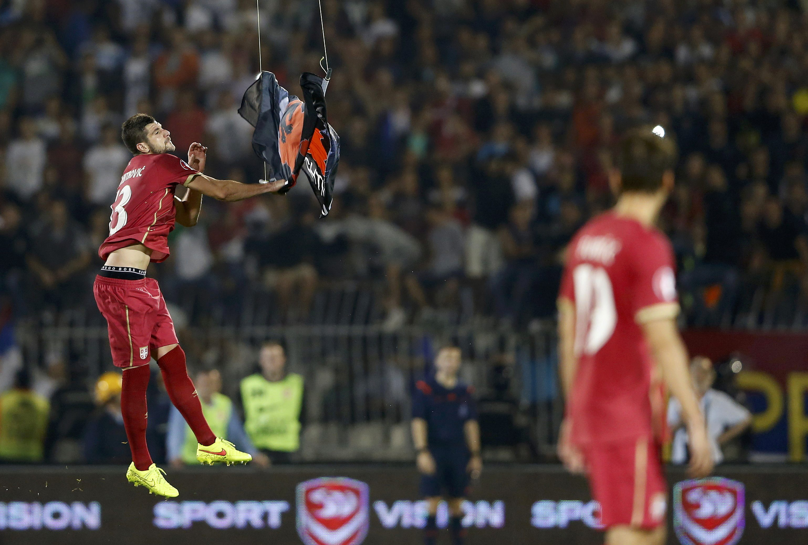 Serbia-Albania match suspended after flag-carrying sparks brawl   For The  Win