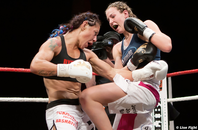 Jorina Baars and Cristiane Justino at Lion Fight 14