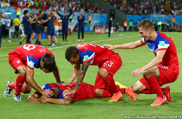 Illegal shots to the back of the head? Nope. That's the U.S. men's national team celebrating its eventual winning goal against Ghana in the World Cup.