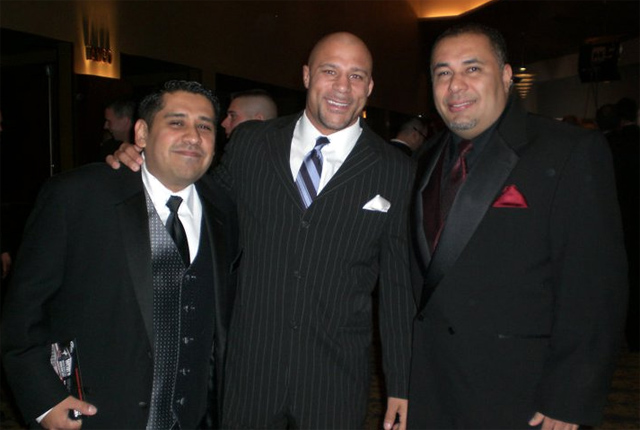 Frank Trigg with the hosts of MMAjunkie Radio