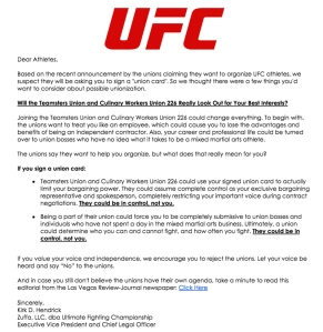 Click to read the UFC's letter to fighters about the Culinary Workers Union