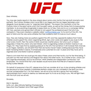 Click to read the UFC's letter to fighters about unionizing